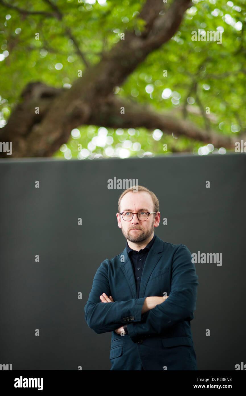 Edinburgh, UK. 28th August 2017. Award-winning journalist and writer Philip Miller, appearing at the Edinburgh International Book Festival. Credit: Lorenzo Dalberto/Alamy Live News - Stock Image