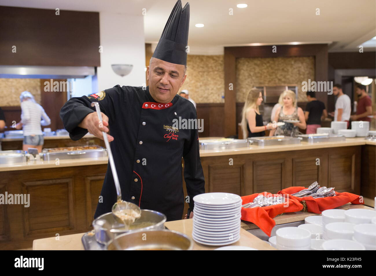 Kemer, Turkey. 26th Aug, 2017. A chef at the Meder Resort Hotel. Credit: Sergei Bobylev/TASS/Alamy Live News - Stock Image
