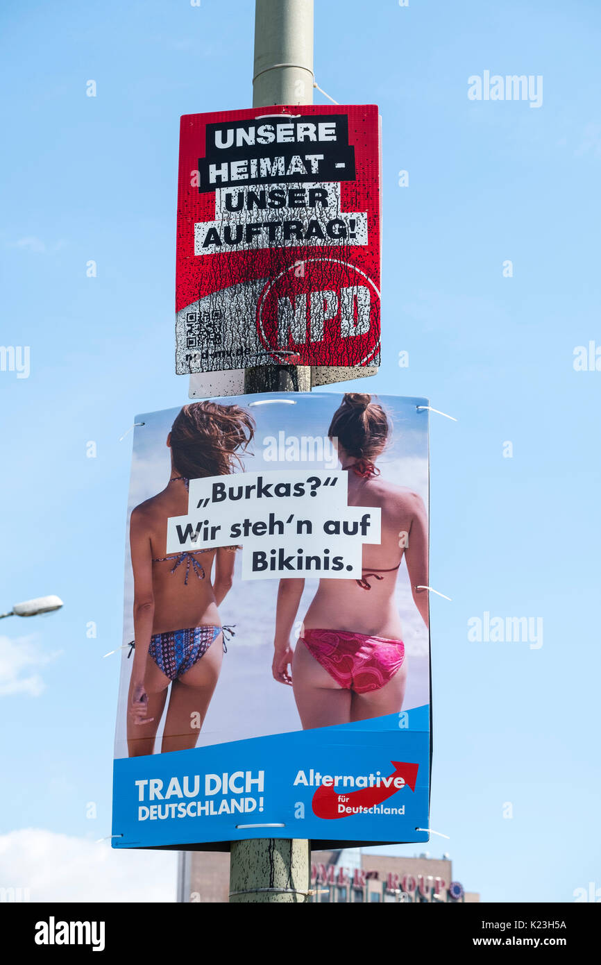 Berlin, Germany. 28th August 2017. Party political posters for far-right neo-Nazi NPD party, National Democratic - Stock Image