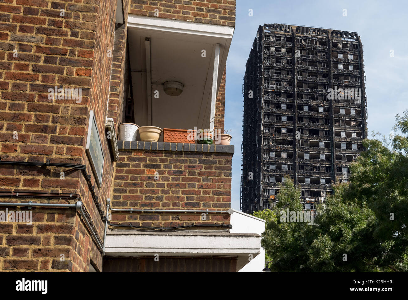 London, UK. 28th Aug, 2017. Grenfell Tower. The Grenfell Tower fire occurred on 14 June 2017 at the 24-storey Grenfell Tower block of public housing flats in North Kensington, Royal Borough of Kensington and Chelsea, West London. Credit: Guy Corbishley/Alamy Live News - Stock Image