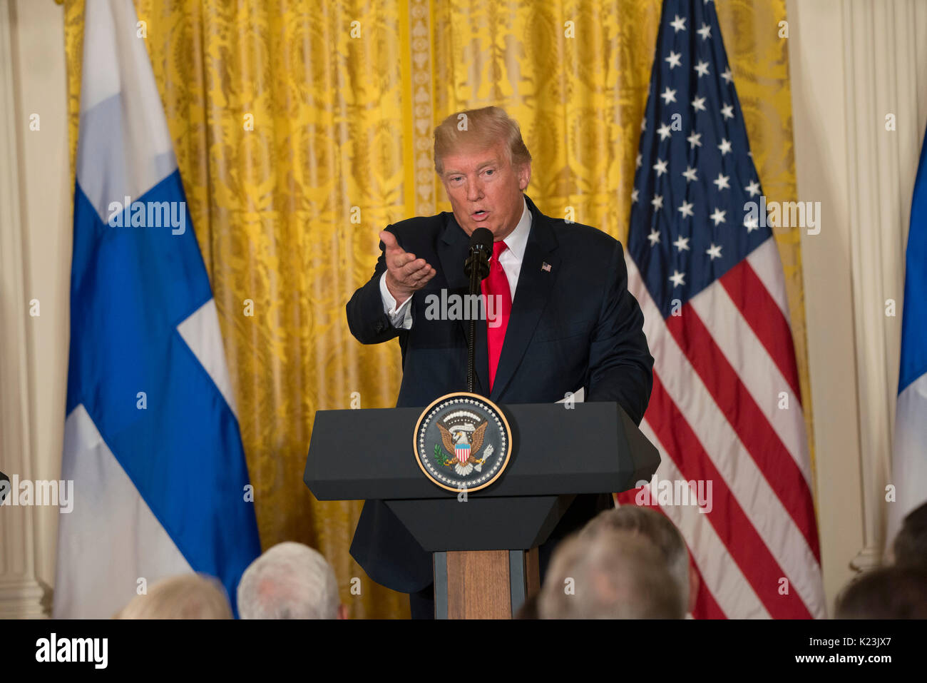 Washington, USA. 28th Aug, 2017.  Press Conference with President Donald J. Trump and President Sauli Niinisto of Finland takes place in the East room in the White House. Patsy Lynch/Alamy Live News - Stock Image