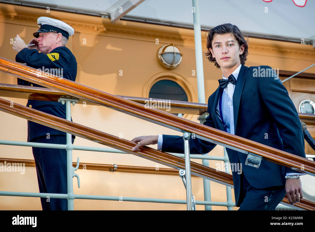 Copenhagen, Denmark. 29th Aug, 2017. 18th birthday of Prince Nikolai at royal ship de Dannebrog in Copenhagen, Denmark, 29 August 2017. Photo: Patrick van Katwijk /Netherlands OUT/Point De Vue Out - NO WIRE SERVICE - Photo: Patrick van Katwijk/Dutch Photo Press/dpa/Alamy Live News - Stock Image