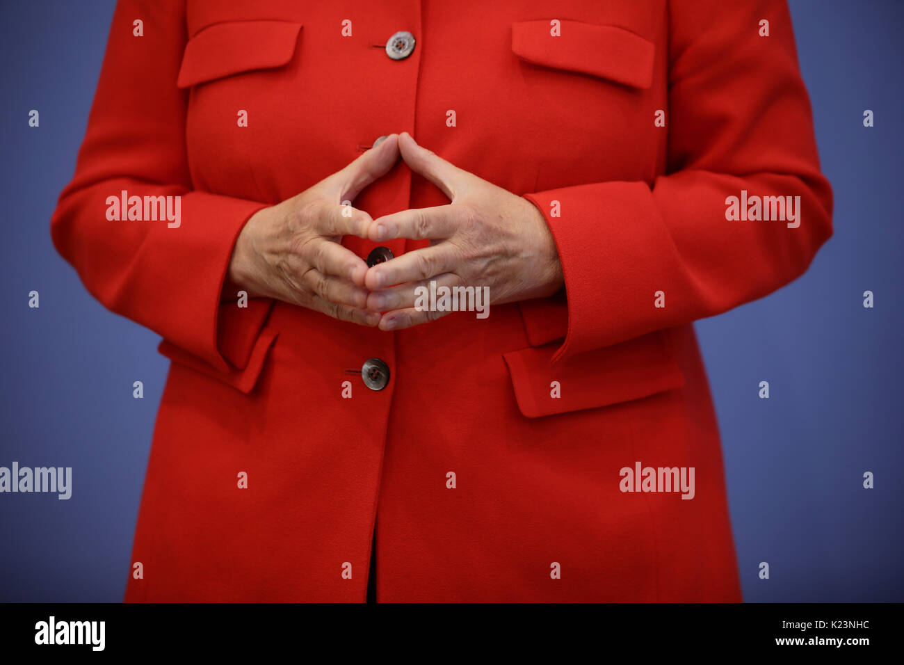 Berlin, Germany. 29th Aug, 2017. German Chancellor Angela Merkel (CDU) arrives at the summer press conference at the federal press conference ('Bundespressekonferenz') in Berlin, Germany, 29 August 2017. Photo: Michael Kappeler/dpa/Alamy Live News - Stock Image