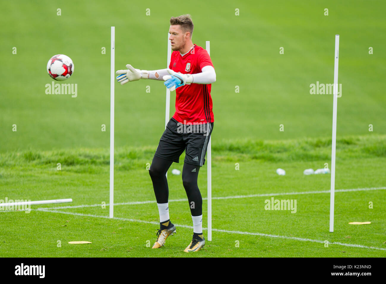Hensol, Wales, UK, 29th August 2017. Wayne Hennessey during Wales national team training ahead of the World Cup Stock Photo
