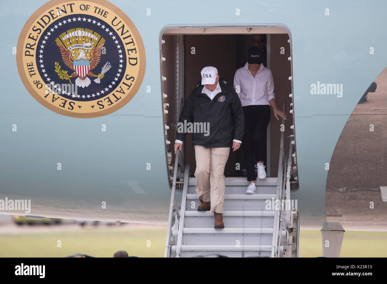 Corpus Christi, Texas, USA. 29th Aug, 2017. U.S. President Donald Trump arrives with First Lady Melania Trump in Corpus Christi to meet with Texas officials for a briefing on Hurricane Harvey cleanup along the heavily damaged Texas coast. Credit: Bob Daemmrich/Alamy Live News - Stock Image