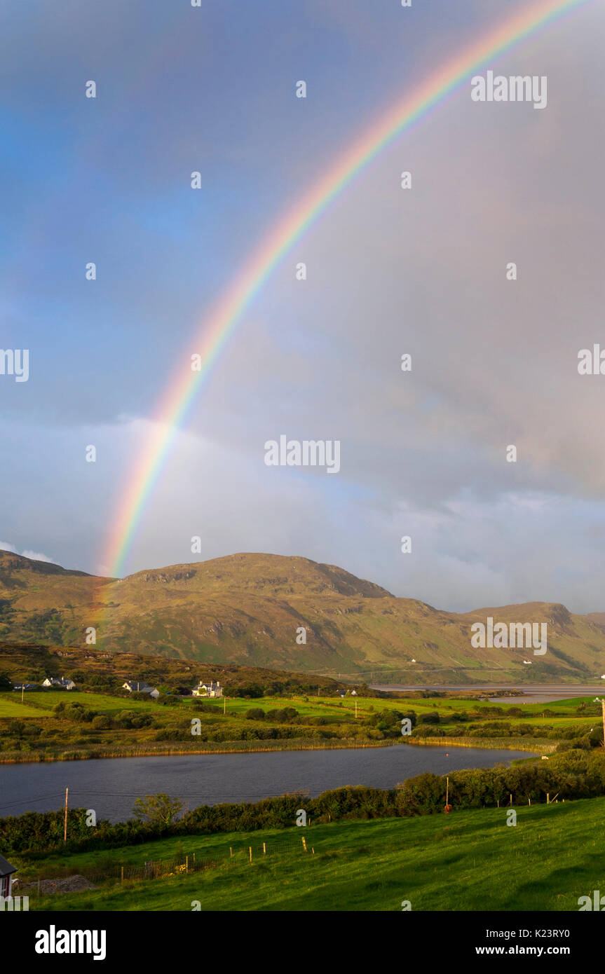 Ardara, County Donegal, Ireland weather. 30th August 2017. A rainbow appears on Ireland's self-styled 'Wild Atlantic Way' after heavy rainfall and some serious flooding in the county recently. Credit: Richard Wayman/Alamy Live News - Stock Image