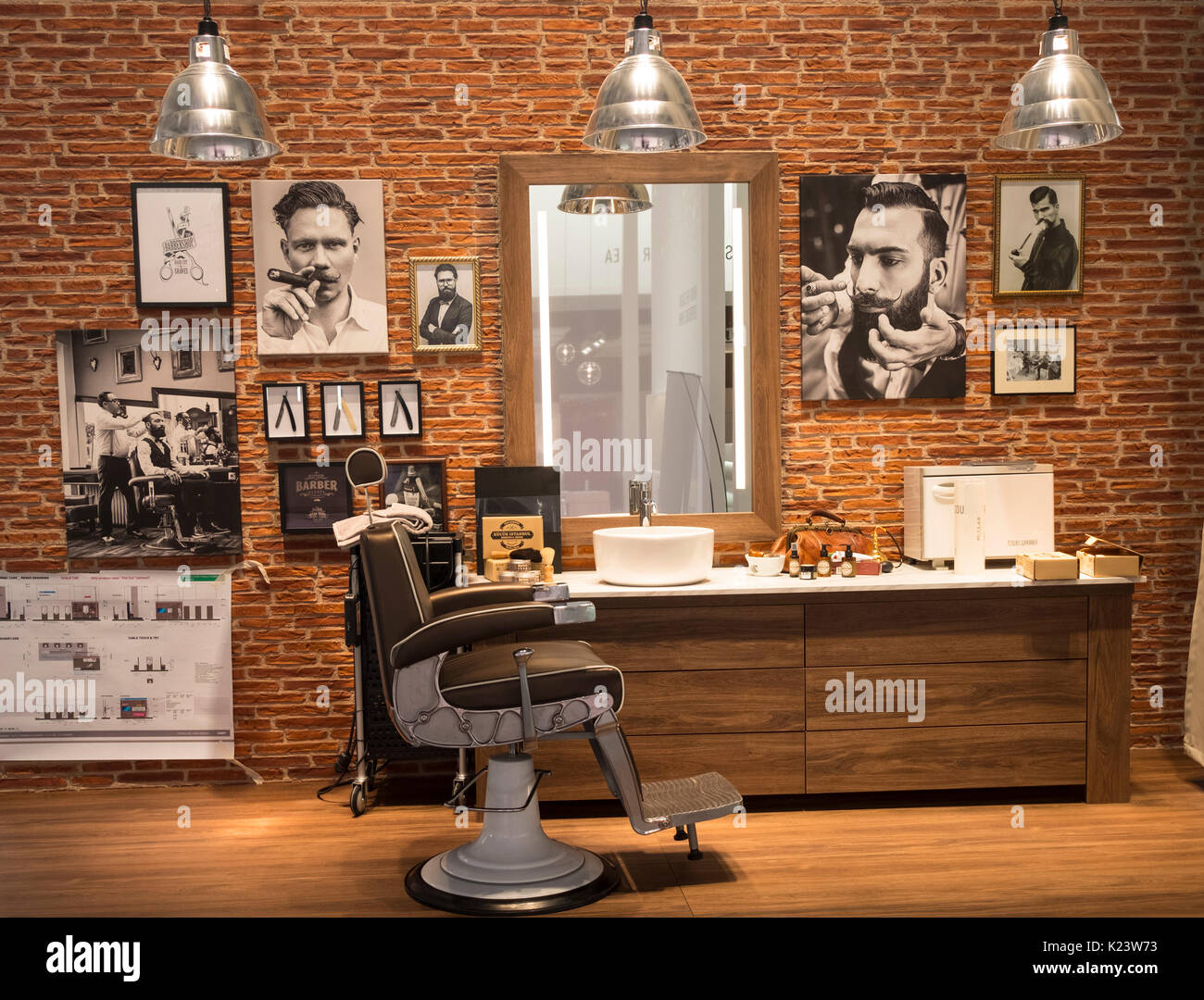 Berlin, Germany. 30th Aug, 2017. Exhibitors preparing stands prior to opening to the public on 1 Sept 2017. Mock-up of men's old fashioned barber shop on Panasonic Men's Grooming stand. IFA is one of the world's largest consumer electronics trade show. Credit: Iain Masterton/Alamy Live News - Stock Image