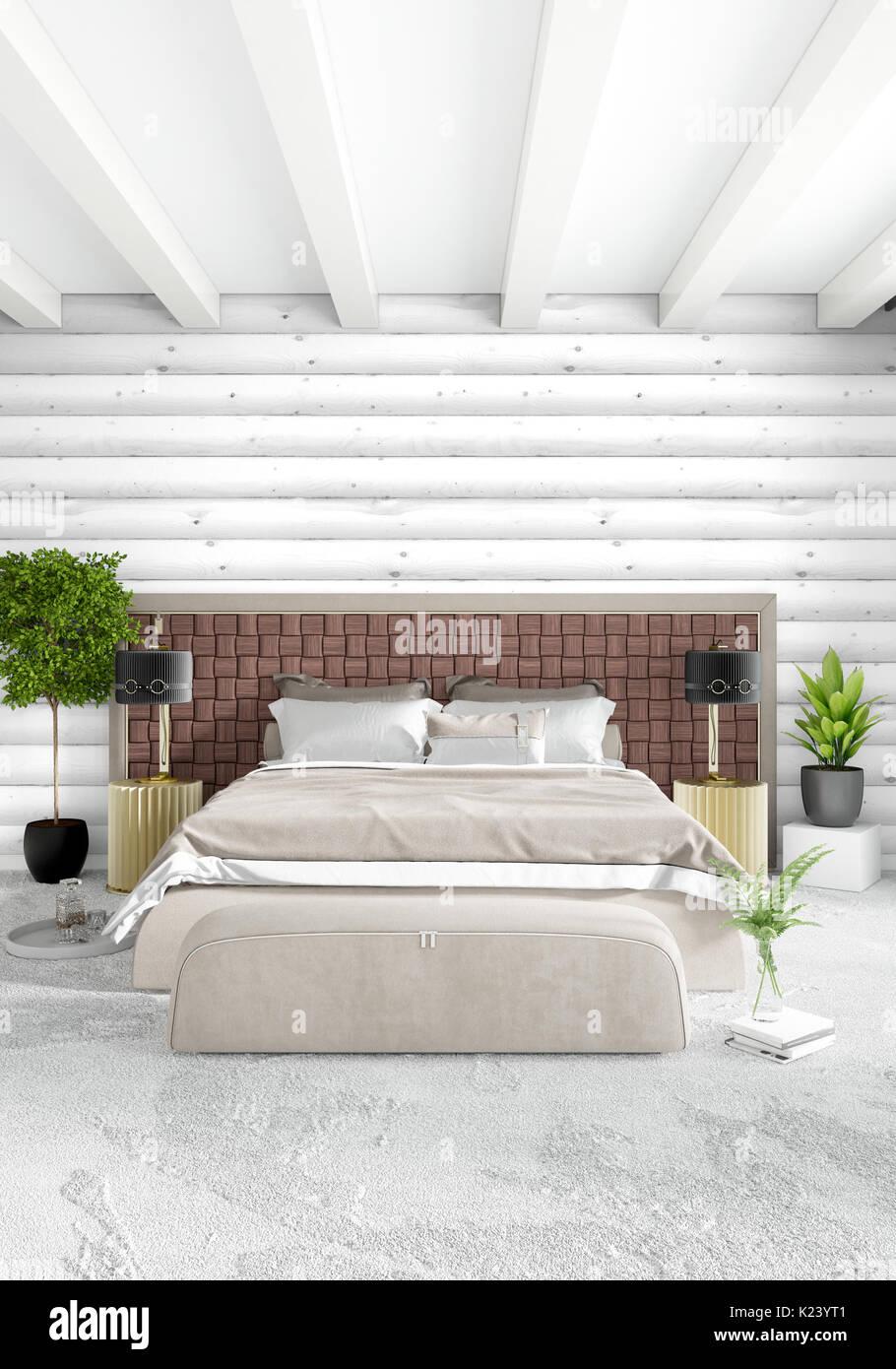 Minimal bedroom Interior design wood wall, yellow sofa and copyspace ...
