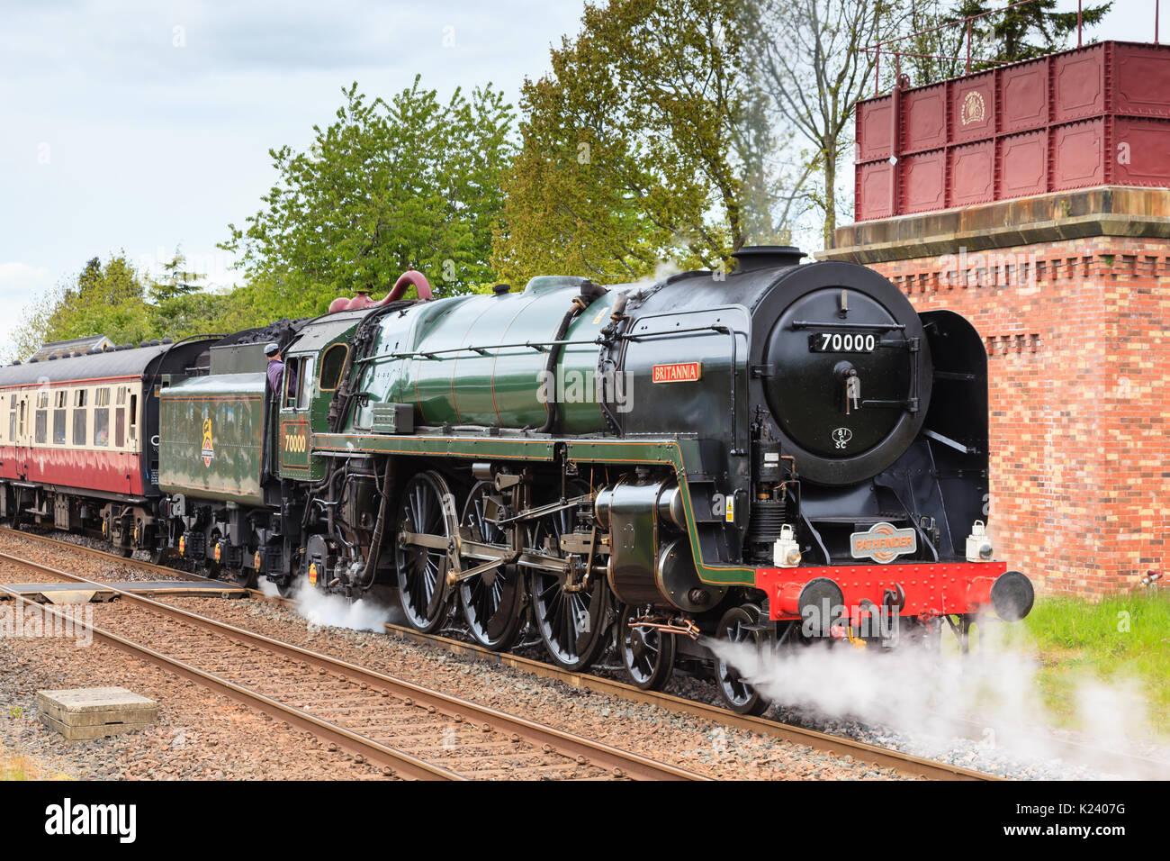 Steam locomotive 70000 Britannia heads the Cumbrian Fells
