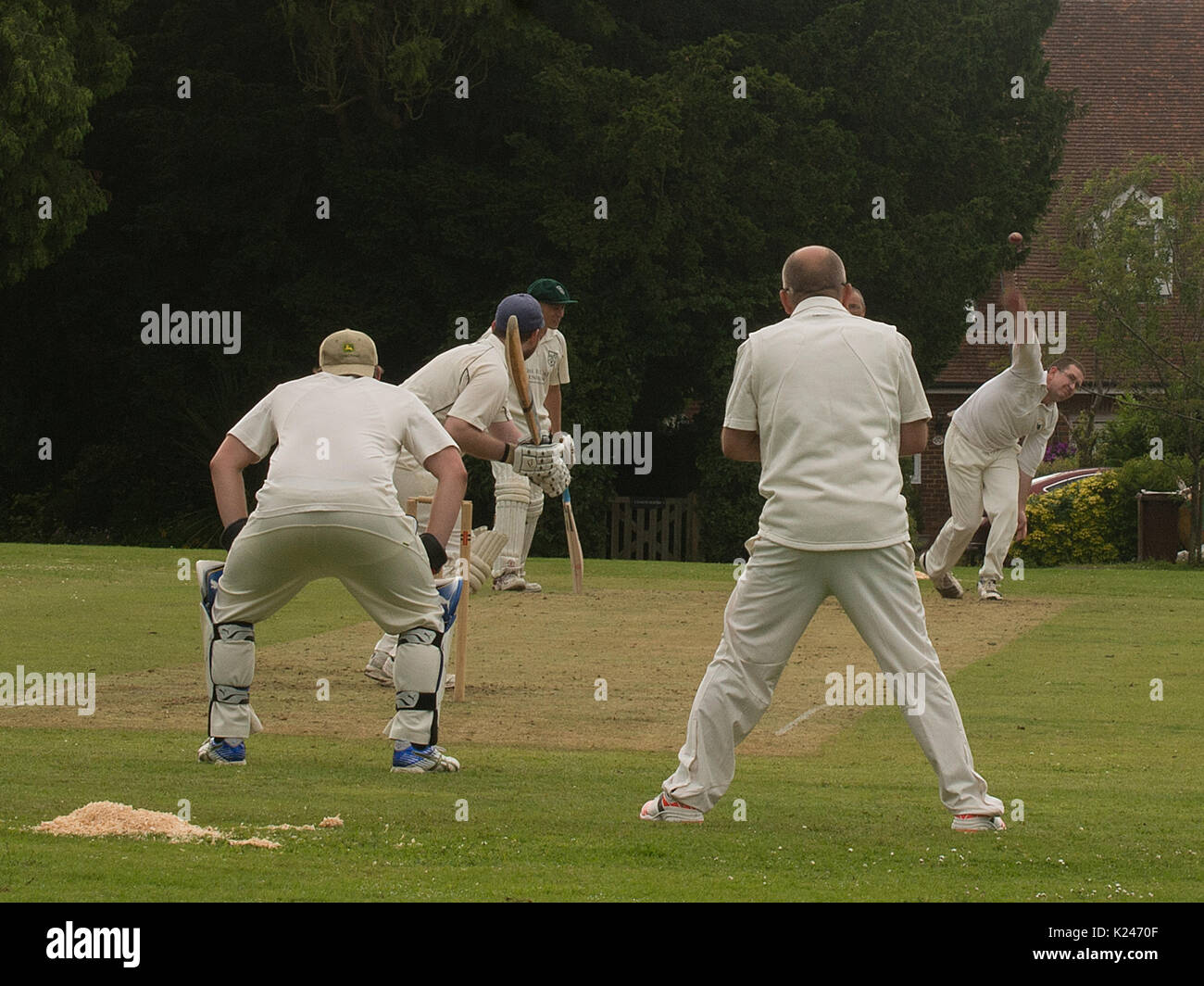 Cricket match at Benenden, Kent Stock Photo