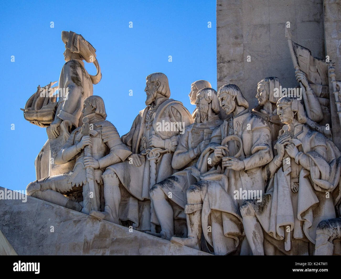 LISBON, PORTUGAL:   Detail of the statues on the Monument to the Discoveries - Stock Image