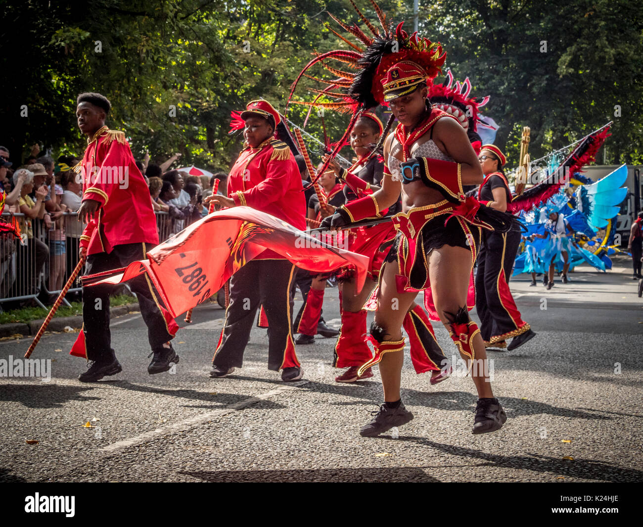 Leeds, UK. 28th August, 2017.  The 50th Leeds West Indian Carnival at Potternewton Park. The carnival was the first - Stock Image