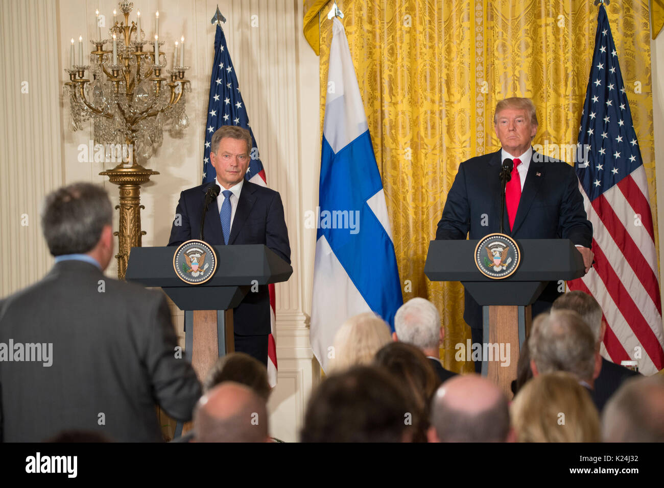 Waahington, DC August 28, 2017, USA: Press Conference with President Donald J. Trump and President Sauli Niinisto of Finland takes place in the East room in the White House. Patsy Lynch/MediaPunch - Stock Image
