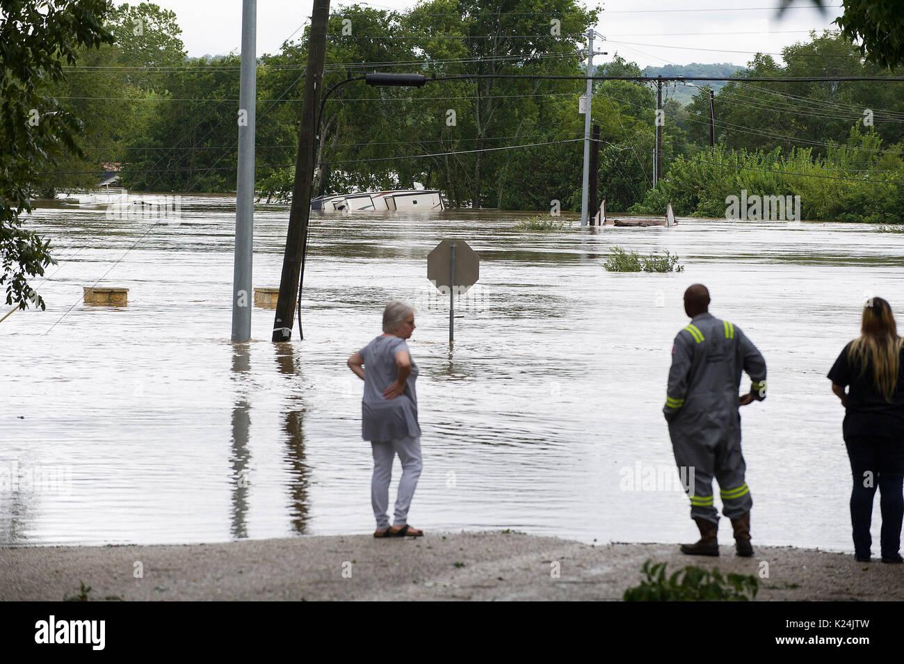 Corpus Christi, Texas, USA. 28th Aug, 2017. Hurricane Harvey made landfall late Friday just north of Corpus Christi Stock Photo