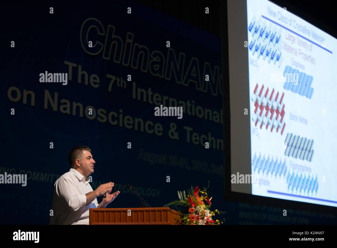 Beijing, China. 29th Aug, 2017. Professor Konstantin Novoselov, whose work on graphene earned him the Nobel Prize in Physics in 2010, addresses the 7th International Conference on Nanoscience and Technology (ChinaNANO 2017) in Beijing, capital of China, Aug. 29, 2017. More than 2,000 delegates from over 30 countries and regions gathered in Beijing for the conference from Aug. 29 to 31. Credit: Jin Liwang/Xinhua/Alamy Live News - Stock Image