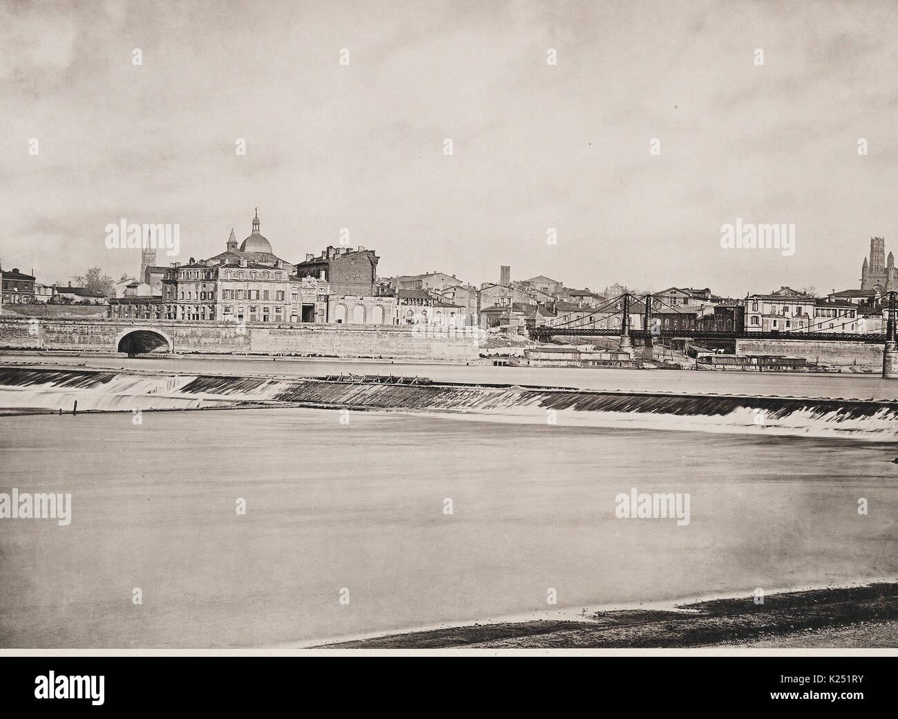 Prise d'Eau du Canal Lateral a la Garonne - Les Travaux Publics de la France, 1883 - Stock Image