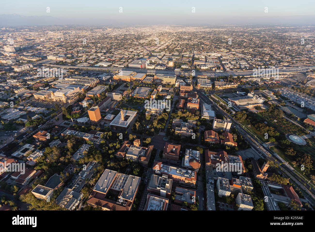 Aerial view of the University of Southern California campus and neighborhoods south of downtown Los Angeles. - Stock Image