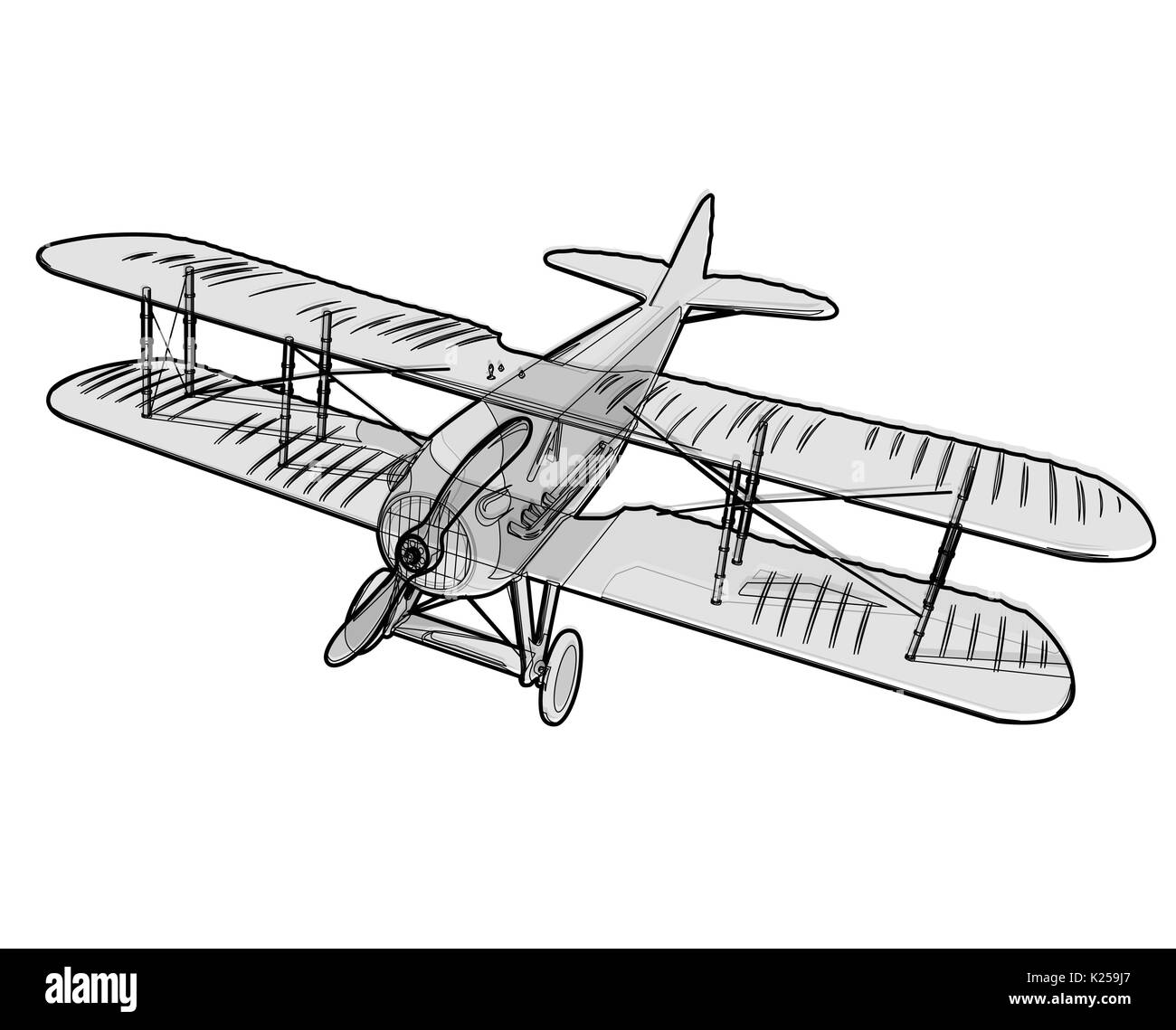 Vector biplane from World War with outline. Wire model aircraft propeller with two wings. Old retro vector aircraft designed for poster printing. - Stock Image