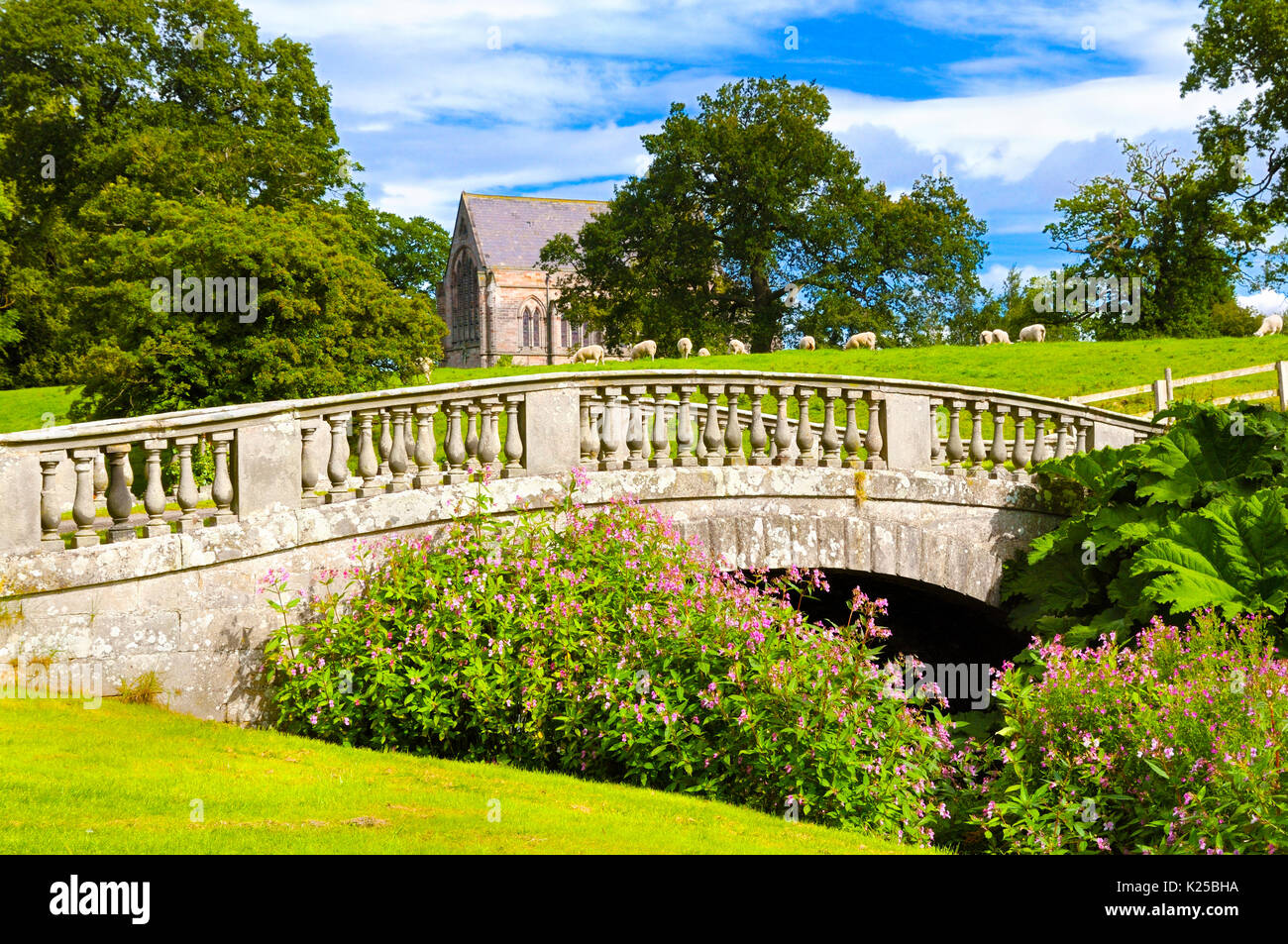 A pastoral scene in the grounds of Brough Hall, North Yorkshire, with grazing sheep, a lovely old church and an18th century sandstone ashlar bridge. - Stock Image