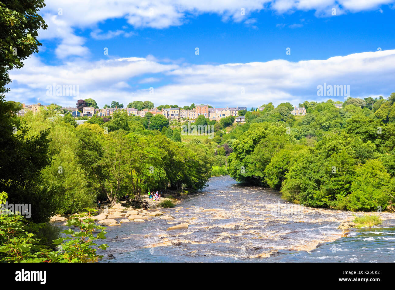 A view down the River Swale on a beautiful summer's day, Richmond, North Yorkshire, England, UK Stock Photo