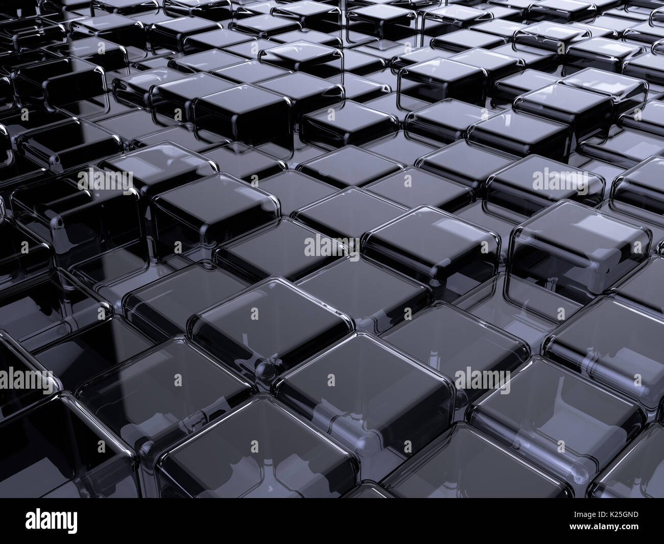 Glass box abstract background. 3d rendering of cube shapes blockchain illustration - Stock Image