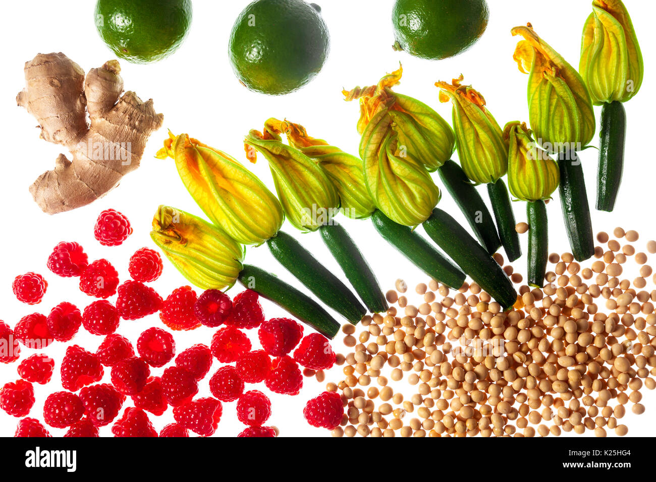Different food ingredients isolated on white. Picture for print. Artistic food - Stock Image