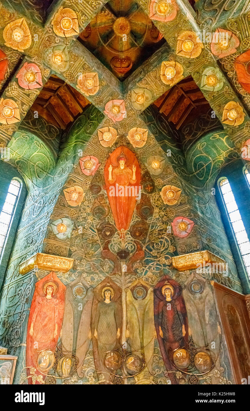 Arts & Crafts Movement style paintings in the Interior of Watts Cemetery Chapel, Compton, a village near Guildford, Surrey, south-east England, UK - Stock Image