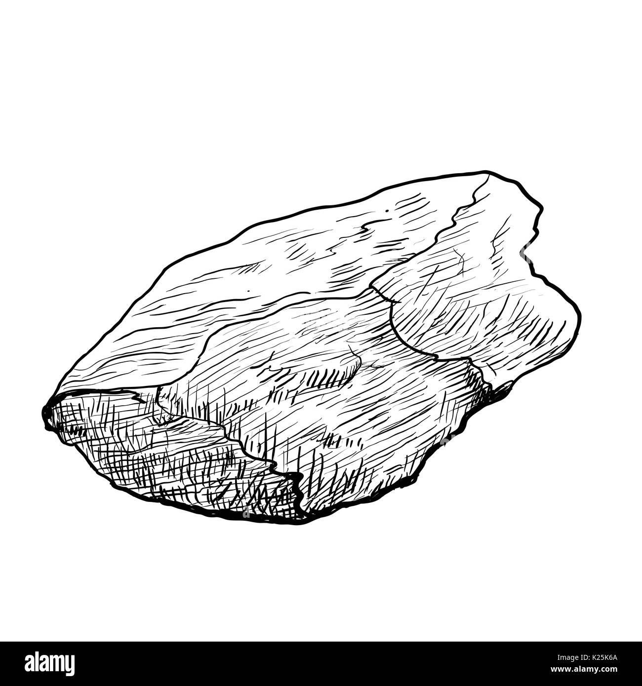 Hand drawing of Rock, Stone isolated on white background. Black and White simple line Vector Illustration for Coloring Book - Line Drawn Vector - Stock Vector