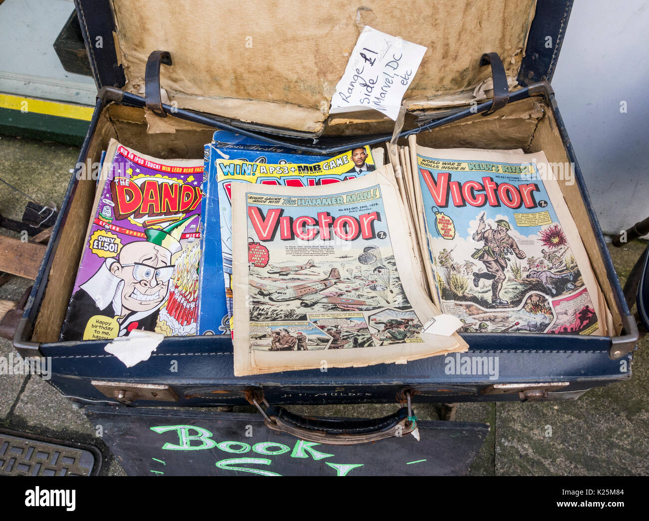 Old comics in second hand shop. UK - Stock Image