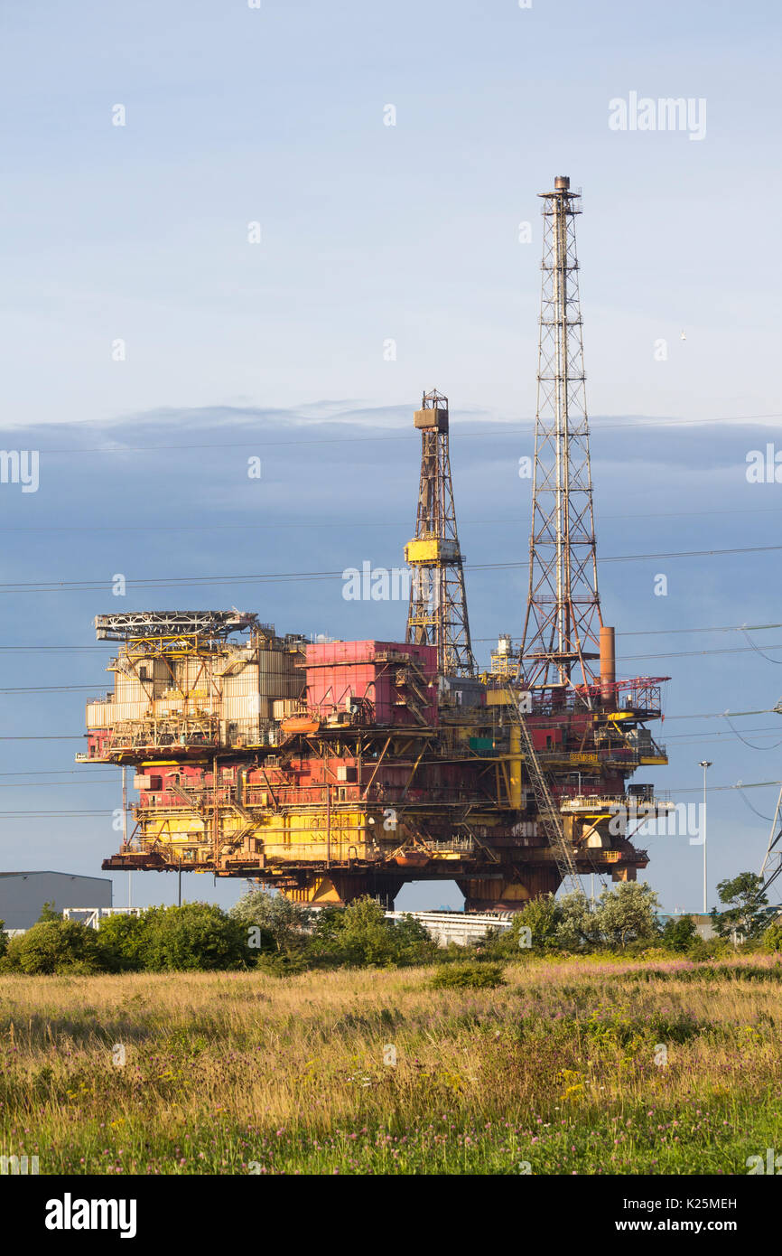 The 130 metre tall, 24,000 tonne Brent Delta Topside oil platform being recycled at Able UK`s Seaton port site near Hartlepool, UK Stock Photo