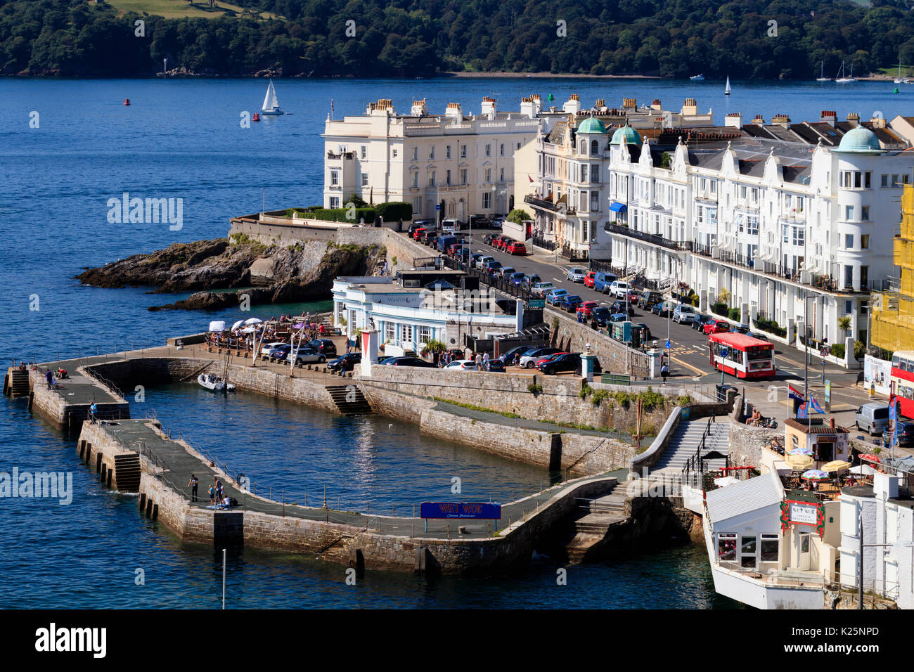 Residential properties, Waterfront Restaurant  and the 1880 harbour on the West Hoe, Plymouth, Devon, UK - Stock Image