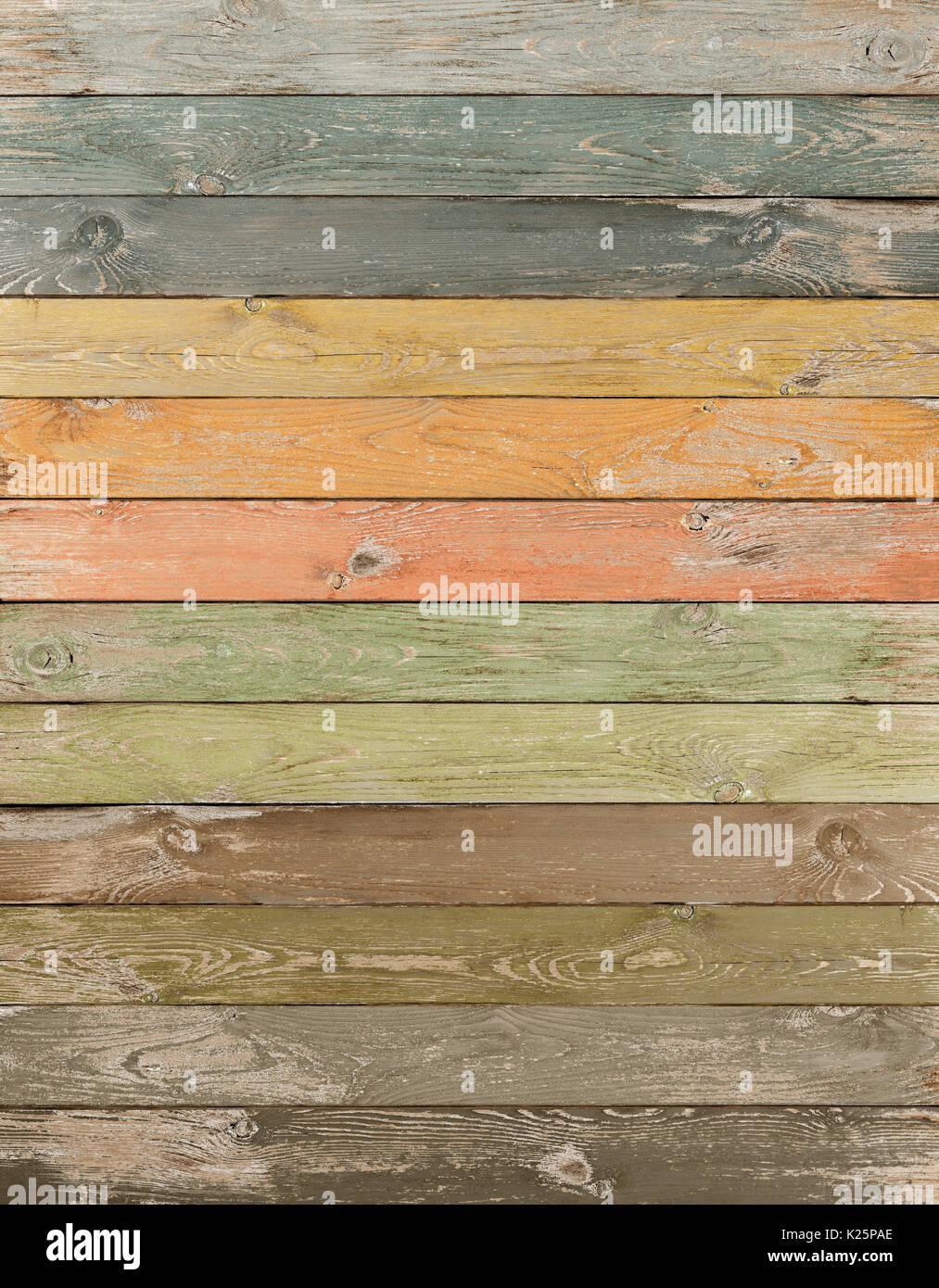 Vintage color wood planks vertical background - Stock Image