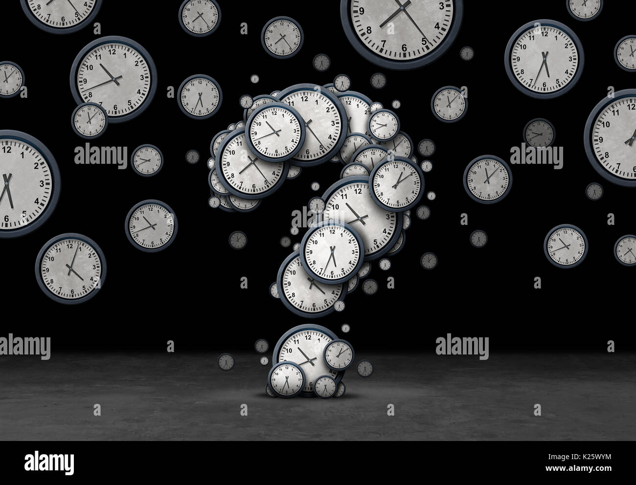 Time questions concept as a group of floating clocks and timepieces shaped as a question mark as a metaphor for deadline or business. - Stock Image
