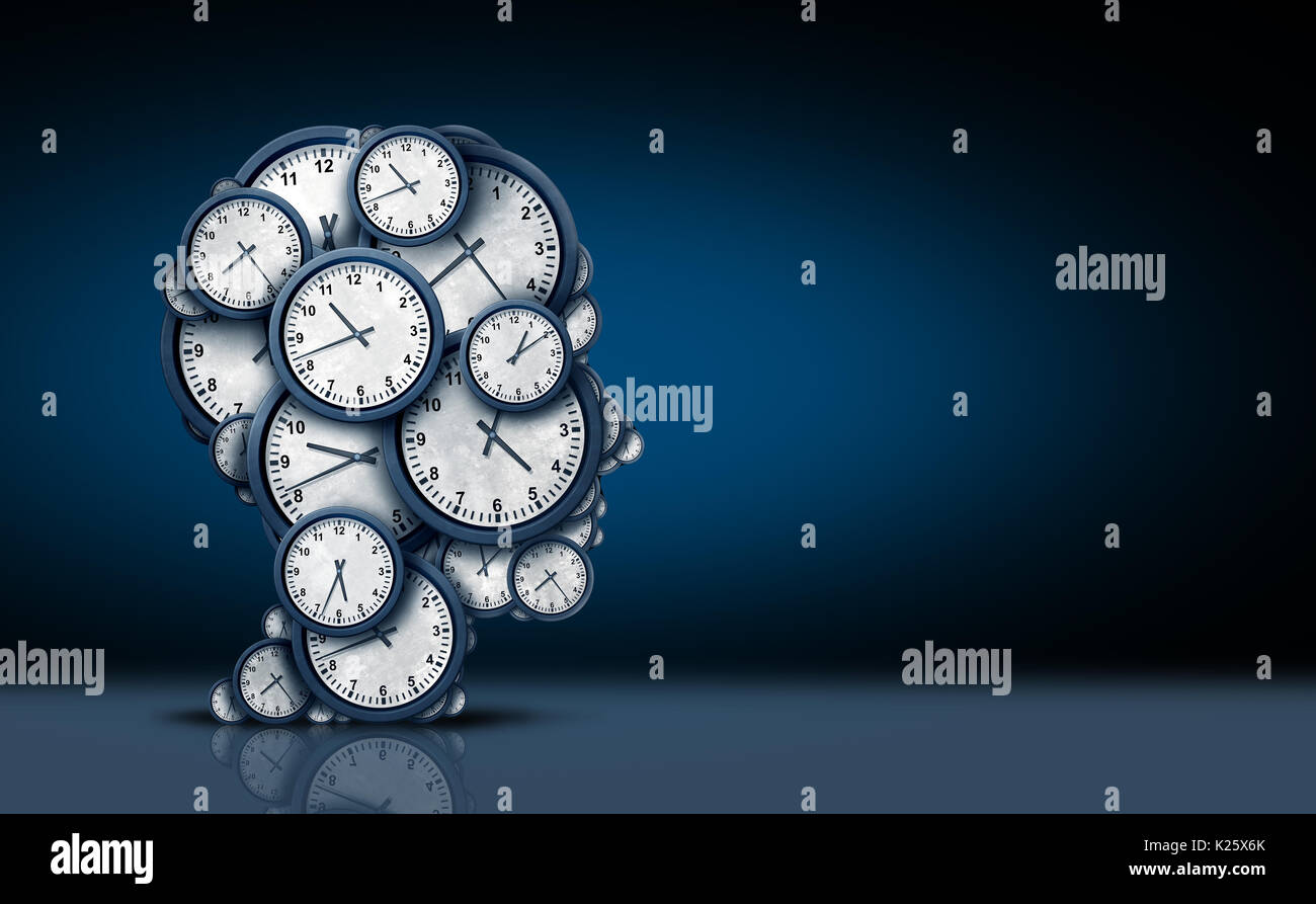 Time thinking concept as a group of clock objects shaped as a human head as a business punctuality and appointment stress. - Stock Image