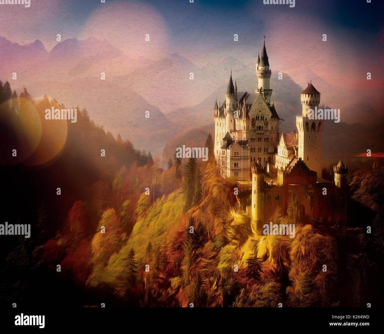 DIGITAL ART: Neuschwanstein Castle, Bavaria, Germany - Stock Image