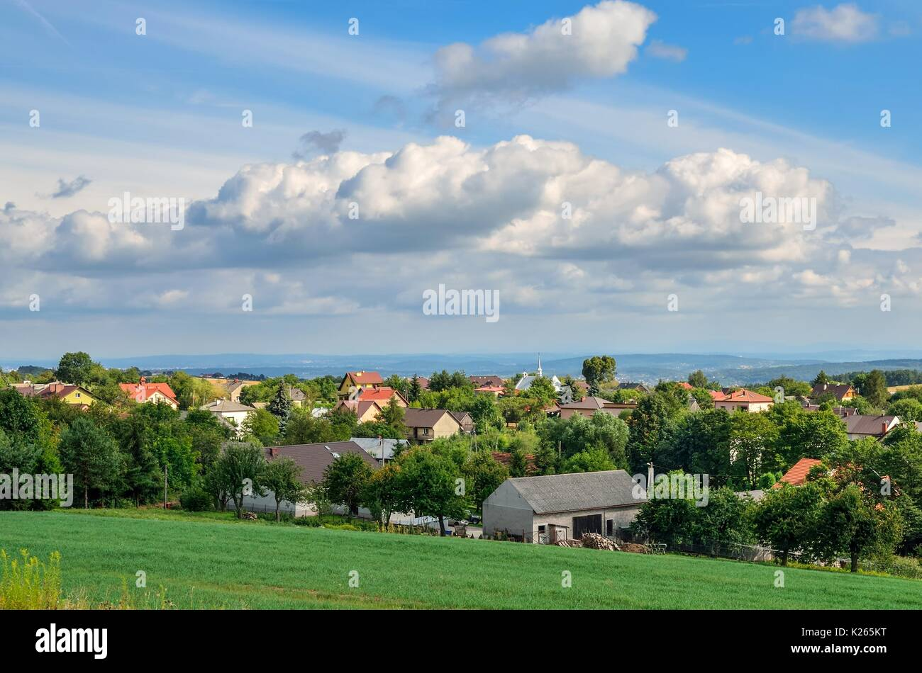 Summer rural landscape. View of the countryside and the beautiful hills. - Stock Image