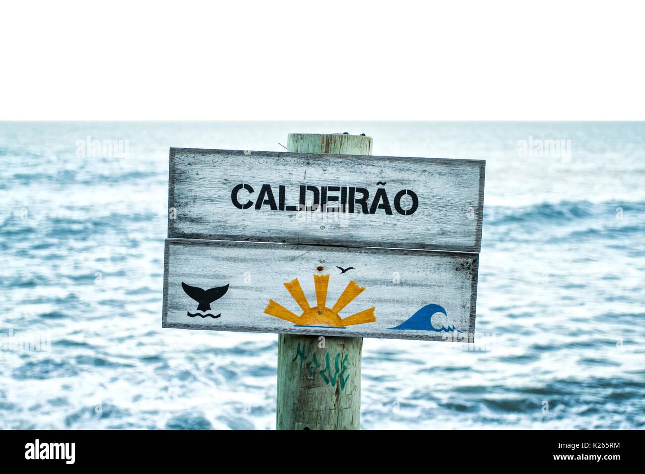 Signage at Armacao Beach. Florianopolis, Santa Catarina, Brazil. - Stock Image