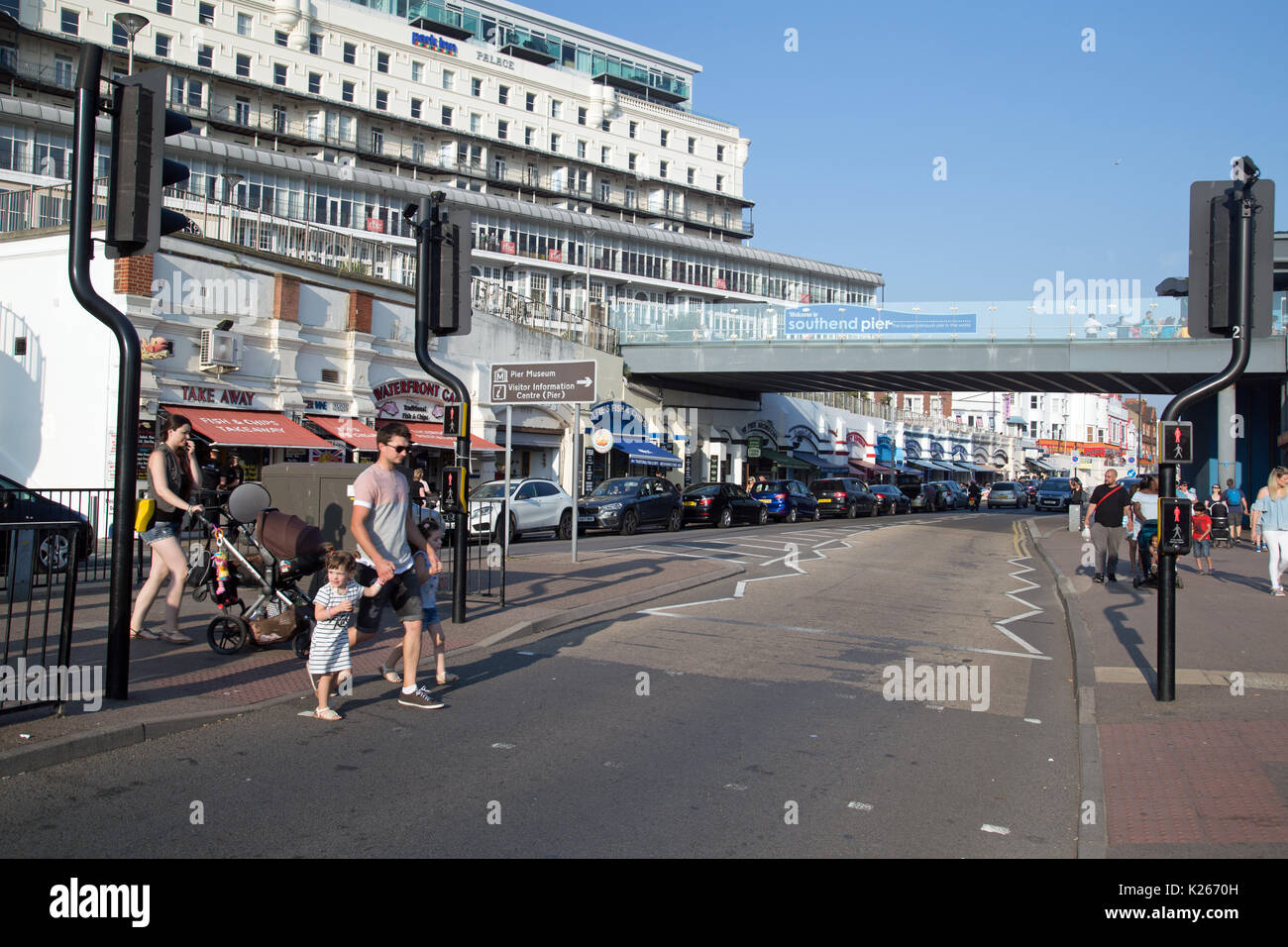 August 2017, Southend On Sea, Essex, England.  Street scene on a busy Bank Holiday Weekend. Stock Photo