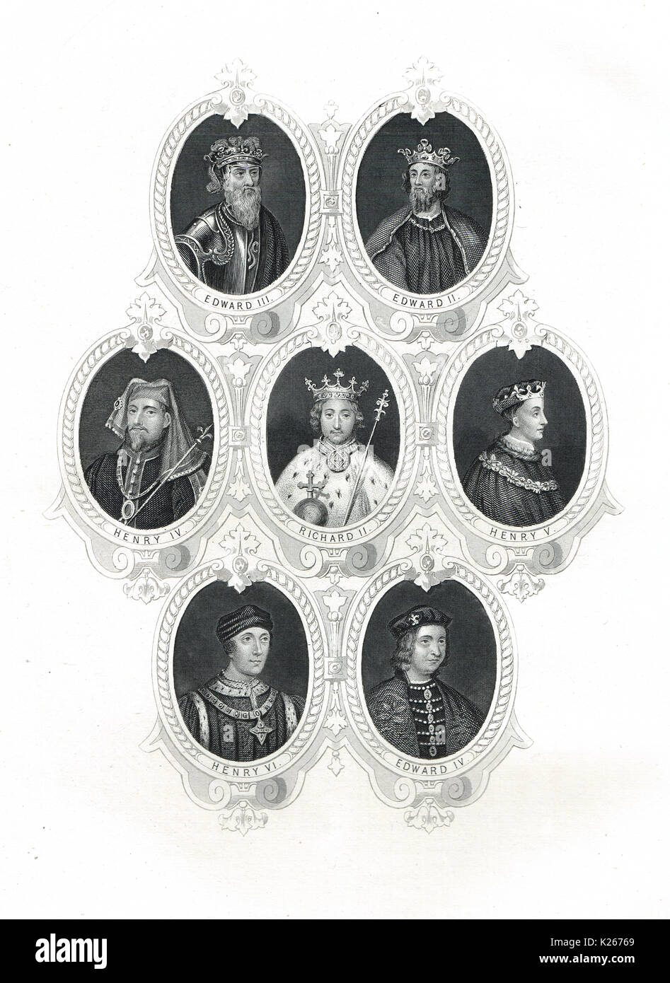 Kings of England from Edward II to Edward IV - Stock Image
