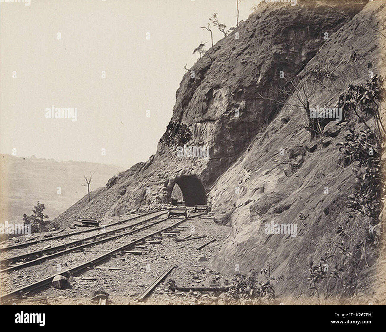 On the Bhore Ghaut - Tunnelling - Stock Image