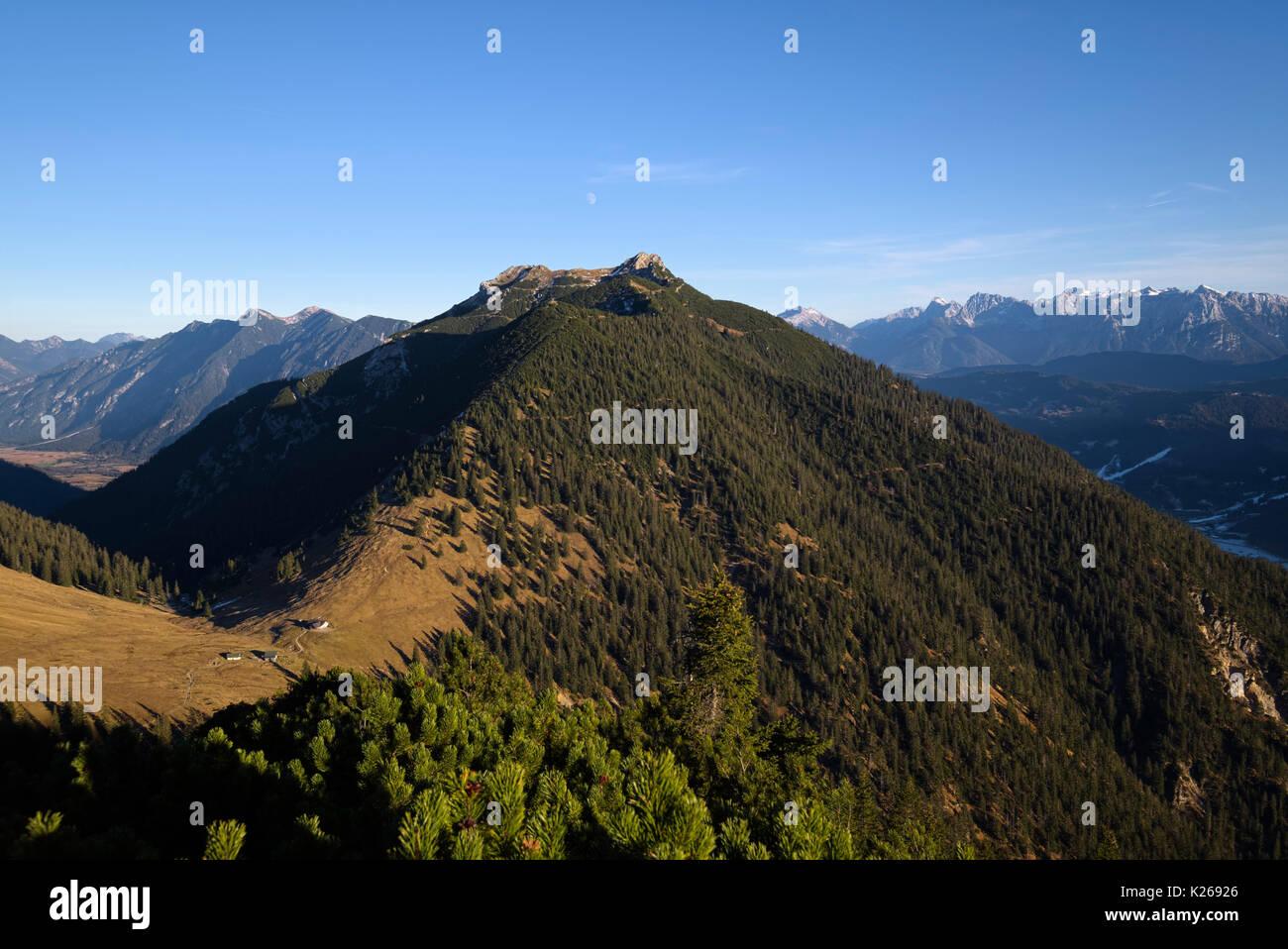 view of Stepberg alp and mountain Kramerspitz, Bavaria, Germany - Stock Image