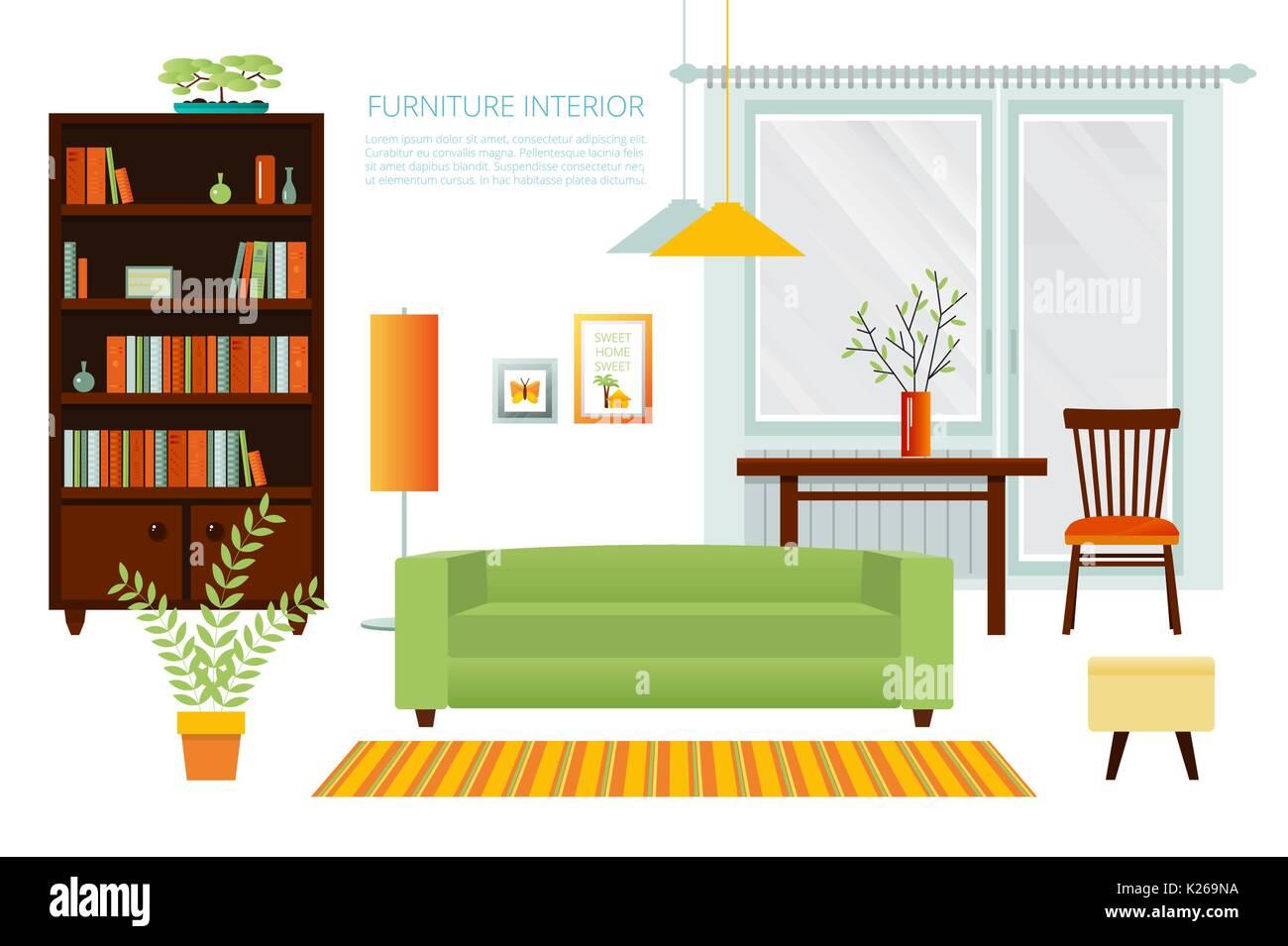 Interior living room. Vector illustration Stock Vector Art ...