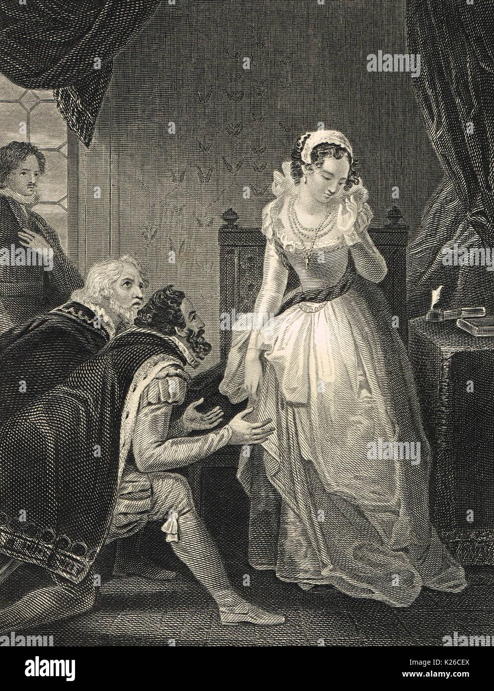 Lady Jane Grey declining the English crown, 1553 - Stock Image