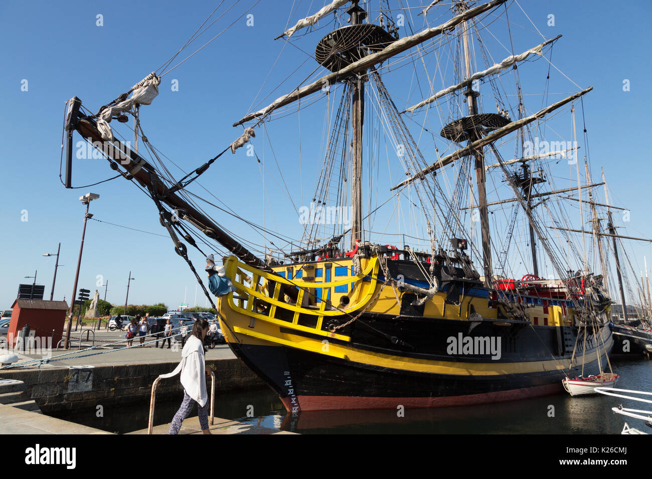 The ' Etoile du Roy ' formally known as ' Grand Turk ', a 3 masted frigate  replica built in 1996, moored in St Malo harbour, St Malo, Brittany France - Stock Image