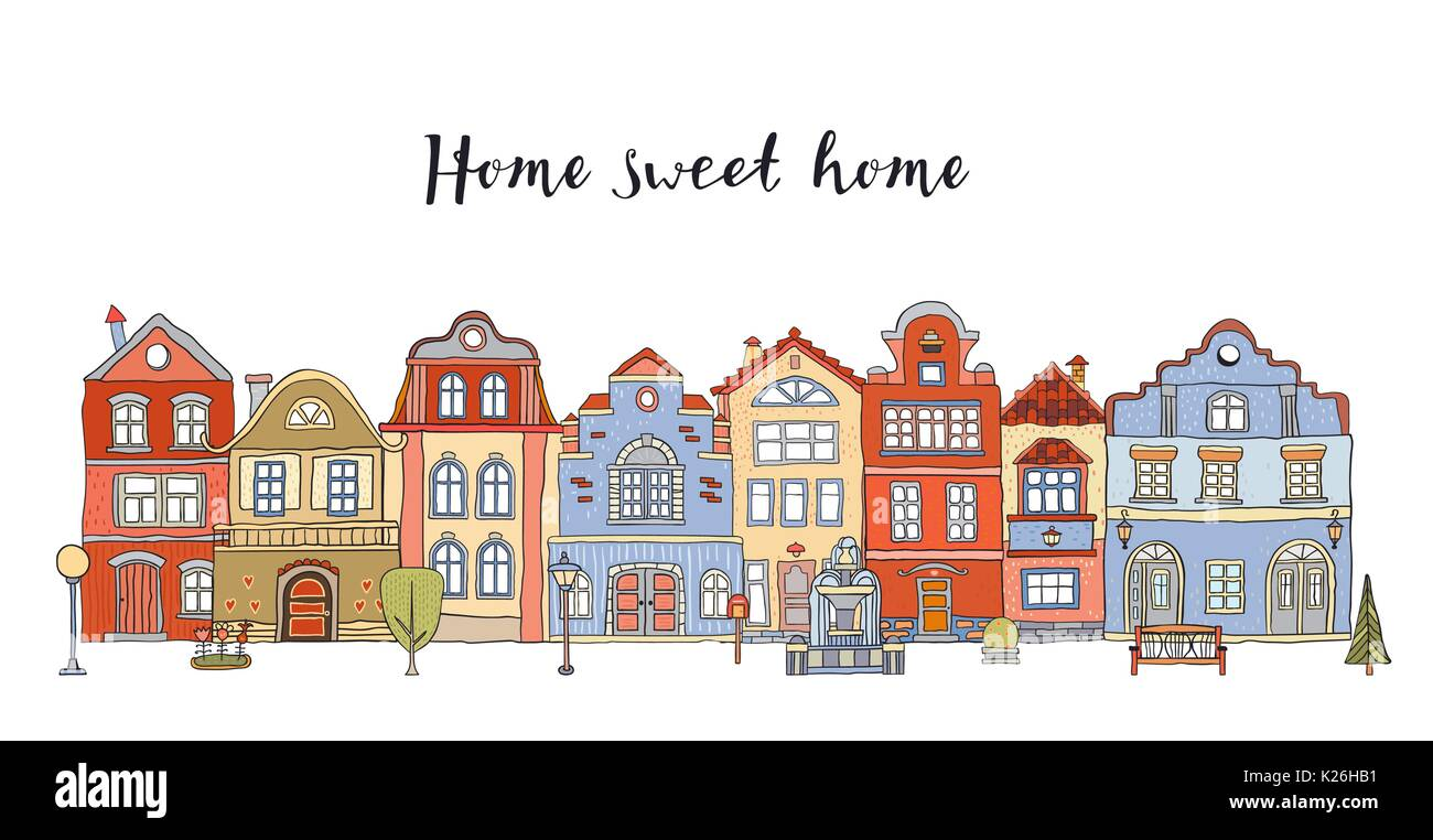 Row of multicolored doodle small town houses with  inscription Home sweet home . Vector - Stock Vector