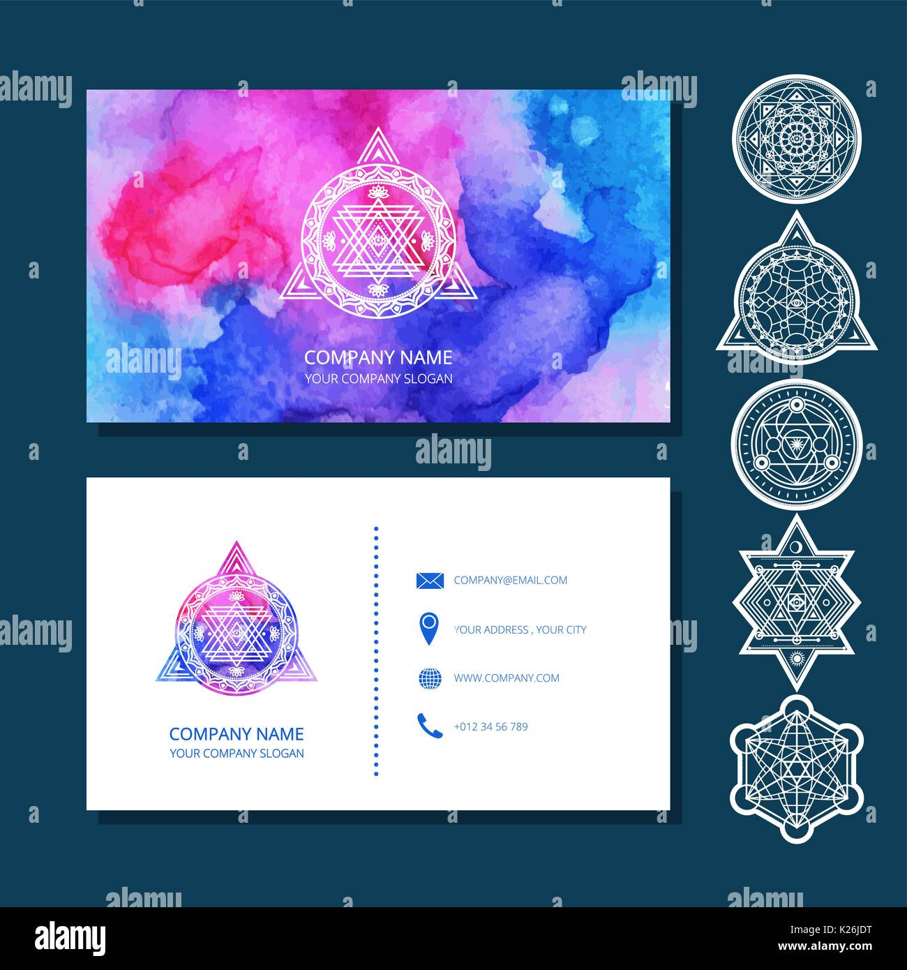 Watercolor Business Cards Include Set Of Sacred Symbols Used Stock