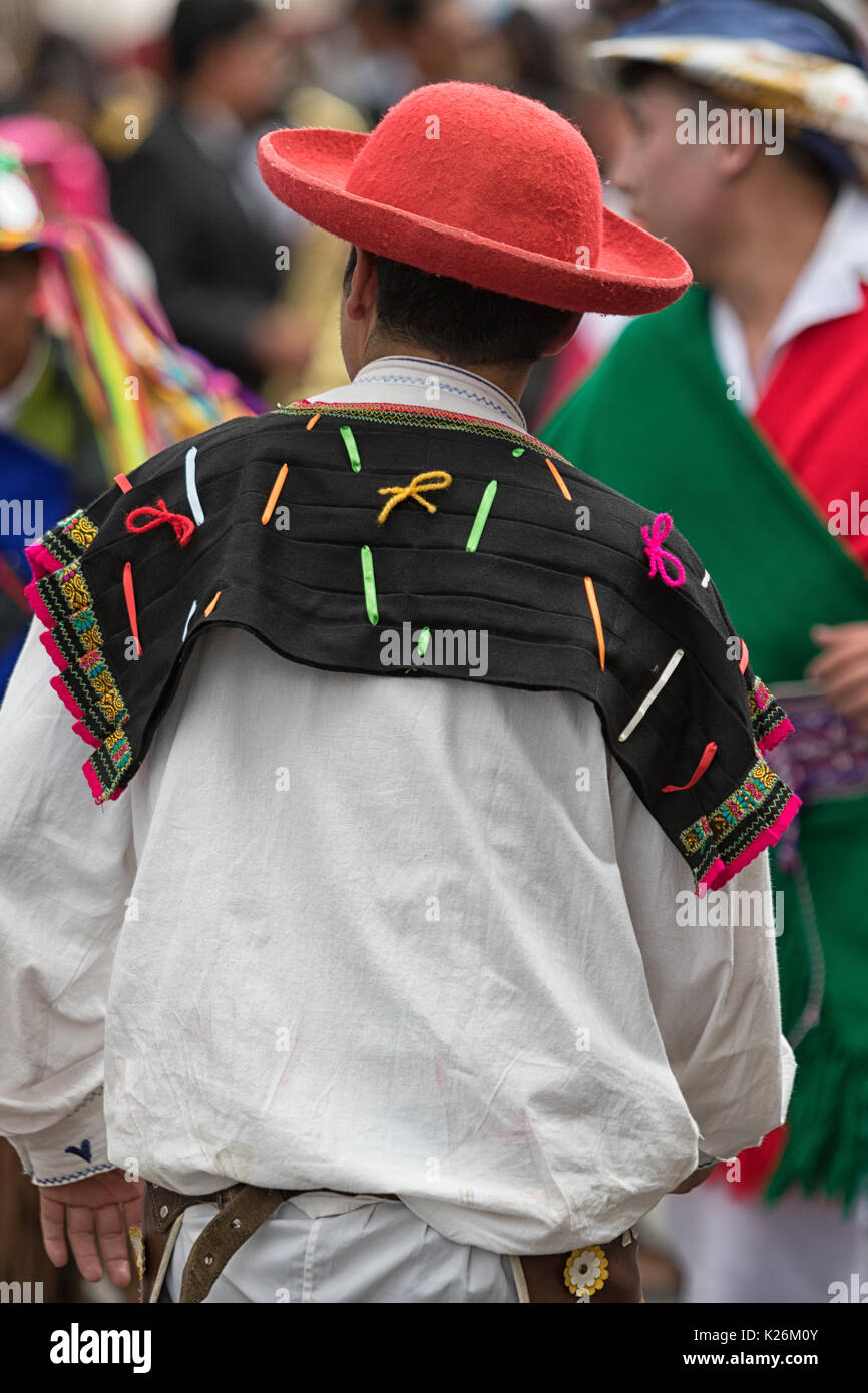 June 17, 2017 Pujili, Ecuador: male traditional clothing details at teh annual Corpus Christi festval in the Andean town - Stock Image