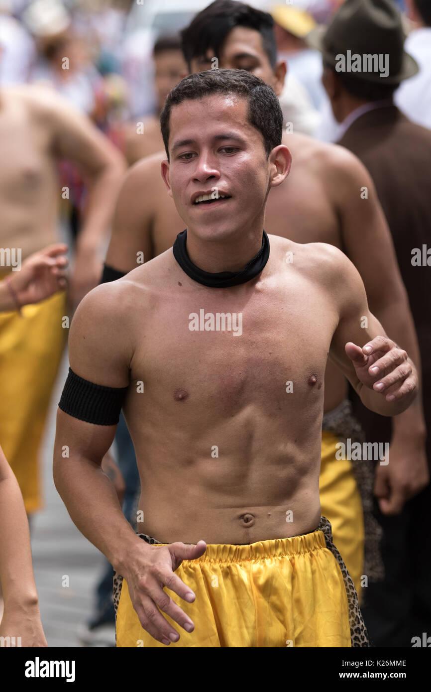 June 17, 2017 Pujili, Ecuador: young male dancer at Corpus Christi festival - Stock Image