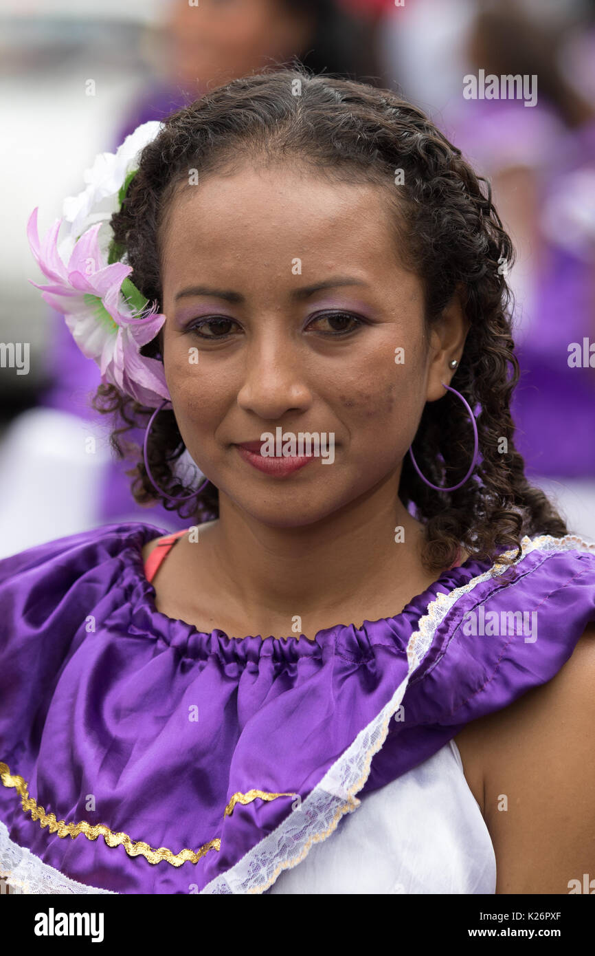June 17, 2017 Pujili, Ecuador: closeup of a female dancer dressed in traditional colonial clothing at the Corpus Christi annual parade - Stock Image