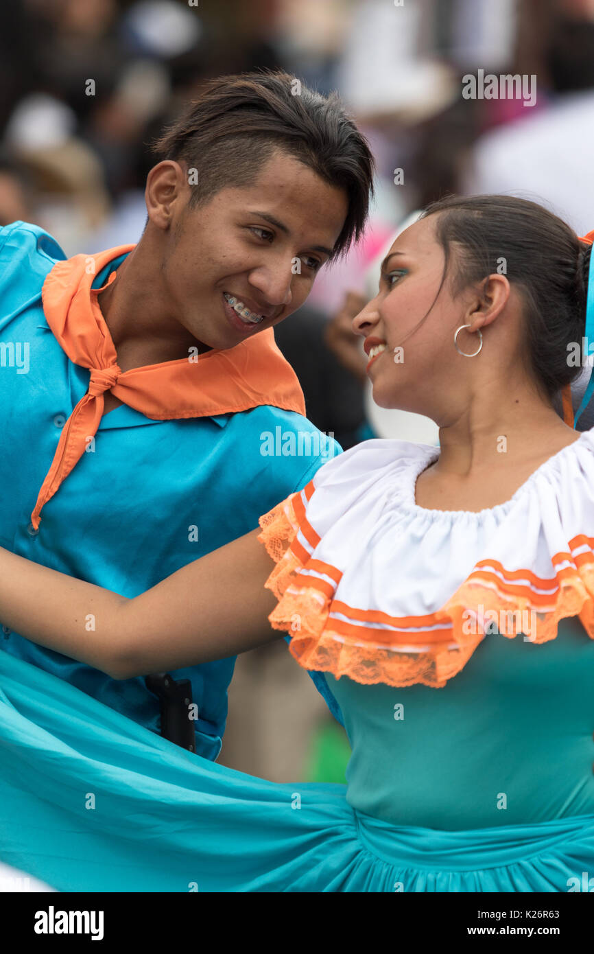 June 17, 2017 Pujili, Ecuador: male and female dancers closeup at the Corpus Christi festival - Stock Image